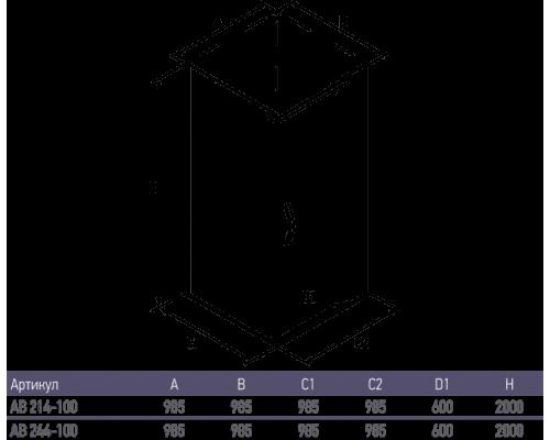 Душевое ограждение AB244-100  1000*1000*2000 (без поддона) тонированое стекло