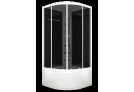 Душевая кабина NEW Домани Delight High (110) 100*100 (пульт, черн.стенки, тонир.стекла, выс.поддон)