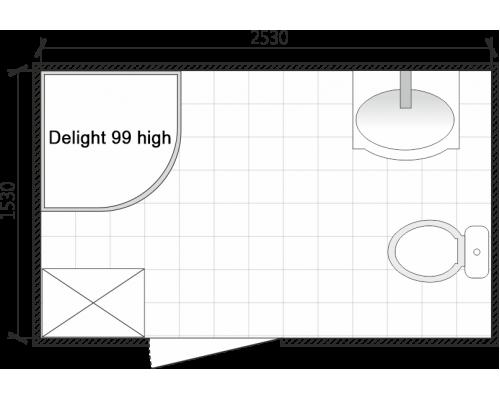 Душевая кабина Домани Delight (99) 90*90 (НИЗКИЙ ПОДДОН ,пульт, светлые.стенки, светлые стекла)