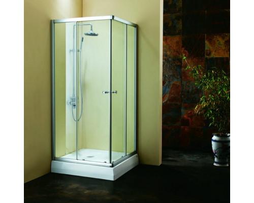 Душевое ограждение квадратная (дверки, профиль глянцевый хром, высота поддона 17см, сифон)