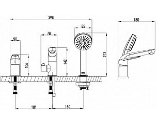 Смеситель на борт ванны на 3 отверстия Iddis Torr TORSB30i07