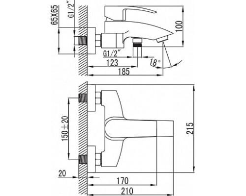 Смеситель для ванны с коротким изливом Iddis Vane YA23177C