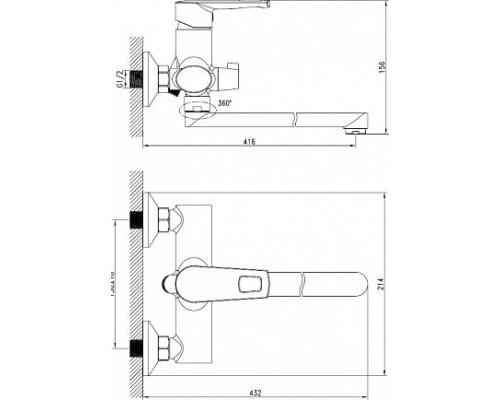 Смеситель д/ванны  с длинным изливом Iddis Runo RUNSBL2i10