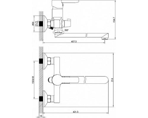 Смеситель для ванны с длинным изливом Iddis Sena SENSBL2i10