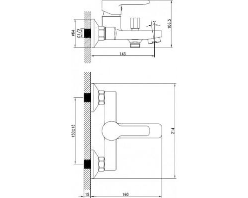 Смеситель для ванны с коротким изливом Iddis Sena SENSB00i02
