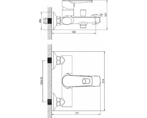 Смеситель д/ванны с коротким изливом Iddis Runo RUNSB00i02