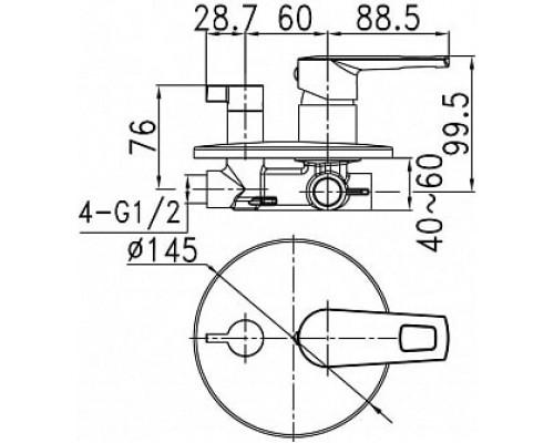 Встраиваемый смеситель с дивертором и двумя выходами Iddis Runo RUNSB00i67