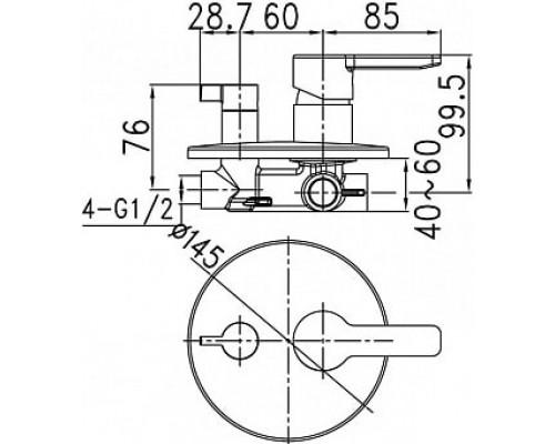 Встраиваемый смеситель с дивертором и двумя выходами Iddis Sena SENSB00i67
