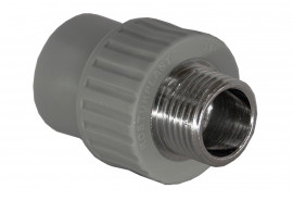 Муфта PP комбинированная (адаптер) 25*1/2 наружняя резьба серая