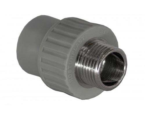 Муфта PP комбинированная (адаптер) 32*1 наружняя резьба серая