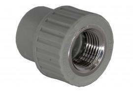 Муфта PP комбинированная (адаптер) 32*3/4 внутренняя резьба серая