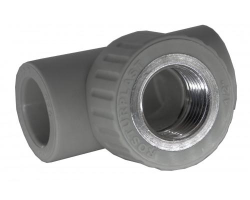 Тройник PP комбинированный 20*1/2*20 вн.рез. серый
