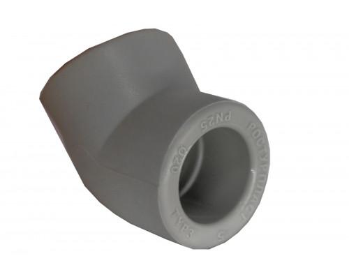 Угольник (полуотвод) PP dm 40 (45 °С) серый