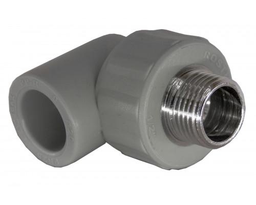 Угольник PP комбинированный (адаптер) 20*3/4 нар.рез. (90°С) серый