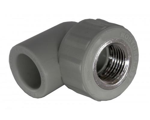 Угольник PP комбинированный (адаптер) 20*1/2 вн.рез. (90°С) серый