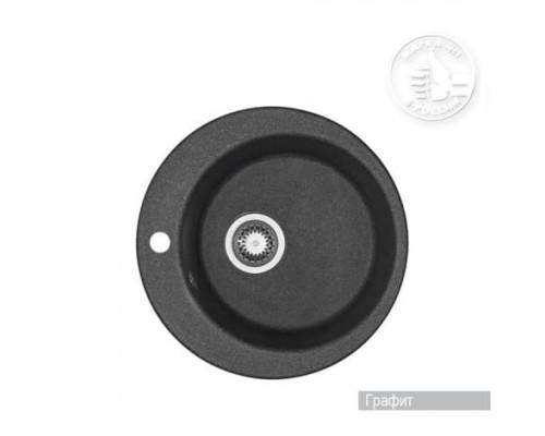 Мойка кухонная Иверия круглая 480мм графит Акватон