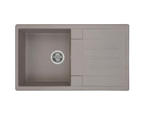 Мойка кухонная Верона 850*500*180 одинарная с крылом серый шелк Акватон