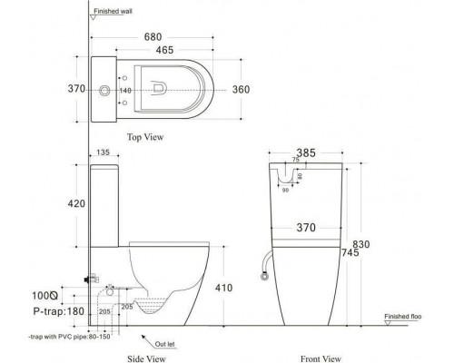 Унитаз-компакт CETUS-C1 (сиденье дюропласт Slim, LIFT) AQUANET