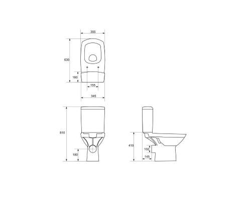 Унитаз-компакт CERSANIT CARINA 516NEW CLEAN ON011 3/5 кр.дюропл.lift.easy-off белый,Сорт1,(S-KO-CAR0