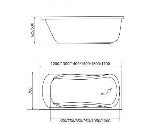 Ванна акриловая 1MarKa Classic 170х70 см