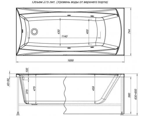 Ванна акриловая Aquanet Cariba 170x75