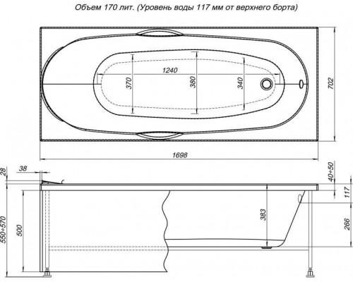 Ванна акриловая Aquanet Dali 170x70