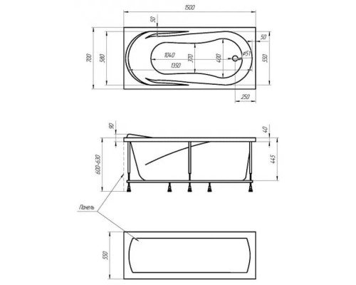Ванна акриловая 1MarKa Medea 150x70