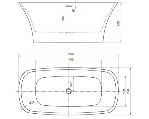 Ванна акриловая Aquanet Pleasure 150x72