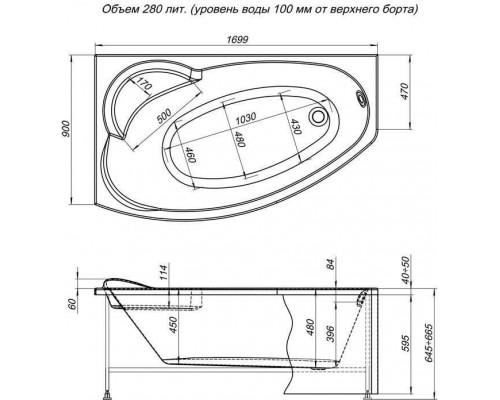 Ванна акриловая Aquanet Sofia 170x90 L
