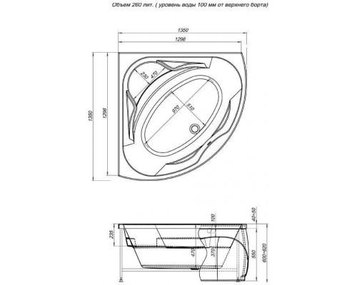 Ванна акриловая Aquanet Vitoria 1350*1350