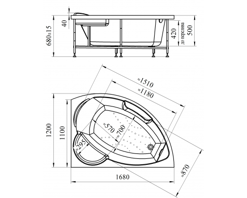 Акриловая ванна Radomir Алари 168x120 см с гидромассажем правая