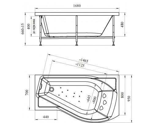 Акриловая ванна Wachter (Radomir) Миранда 168x95 см с гидромассажем левая